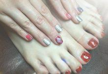 宝石ネイル&赤ラメフット♡